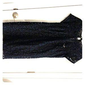 Loft Navy and Black Lace Dress